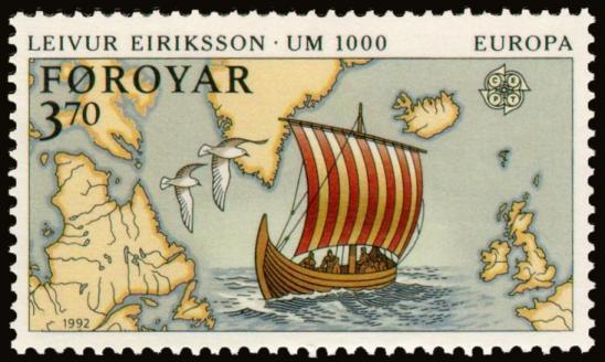 Faroe stamp 225 discovery of america leivur eiriksson