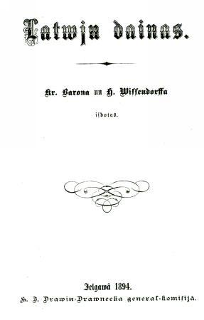Latwju dainas 1894